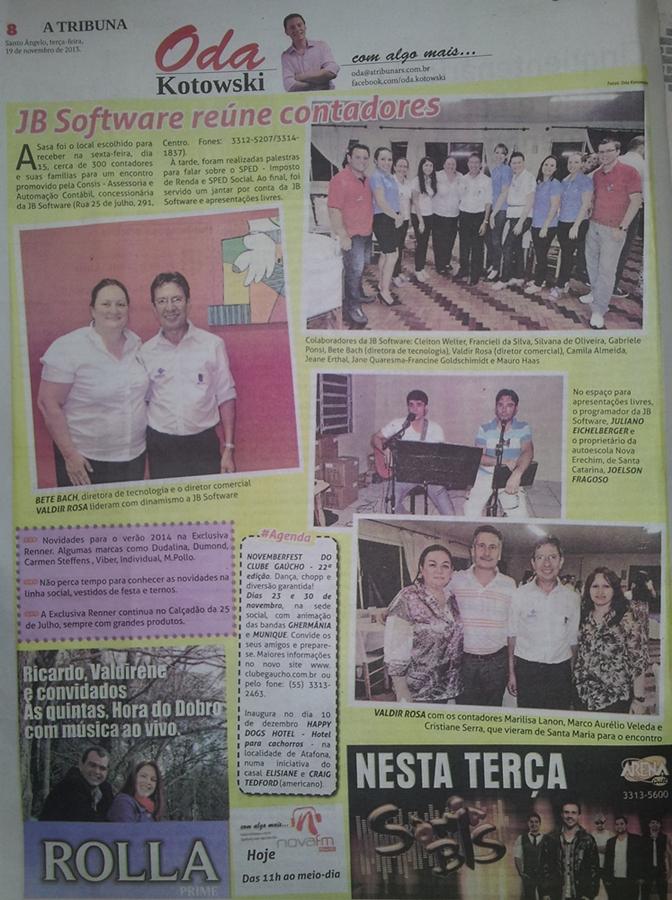 Publicação do jornal A Tribuna, de 19/11/2013. Santo Ângelo/RS